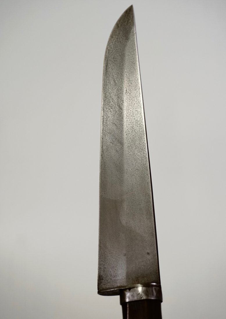 Antique Dirk Knife Hand Forged Thick Blade Wooden Handl - 7