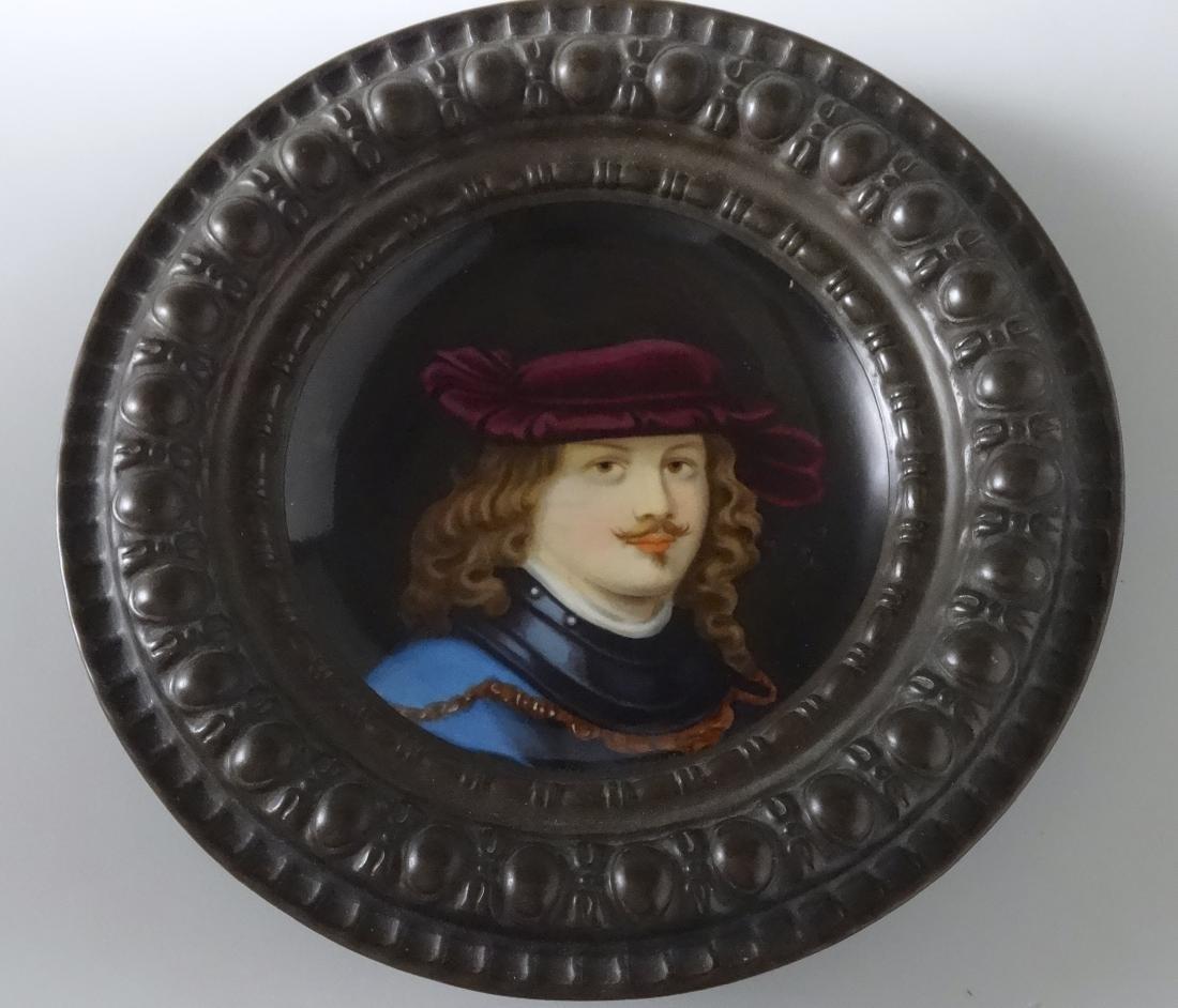 Renaissance Porcelain Portrait Painting Round Embossed