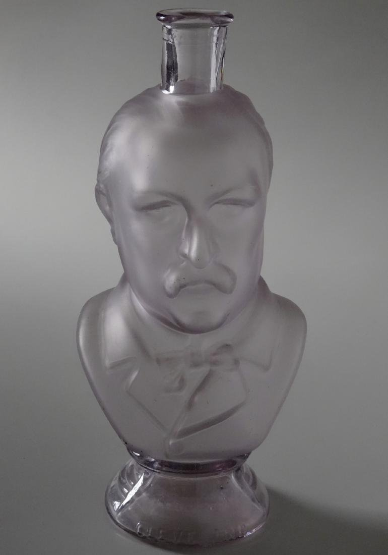 President Grover Cleveland Frosted Glass Figural Bust - 2