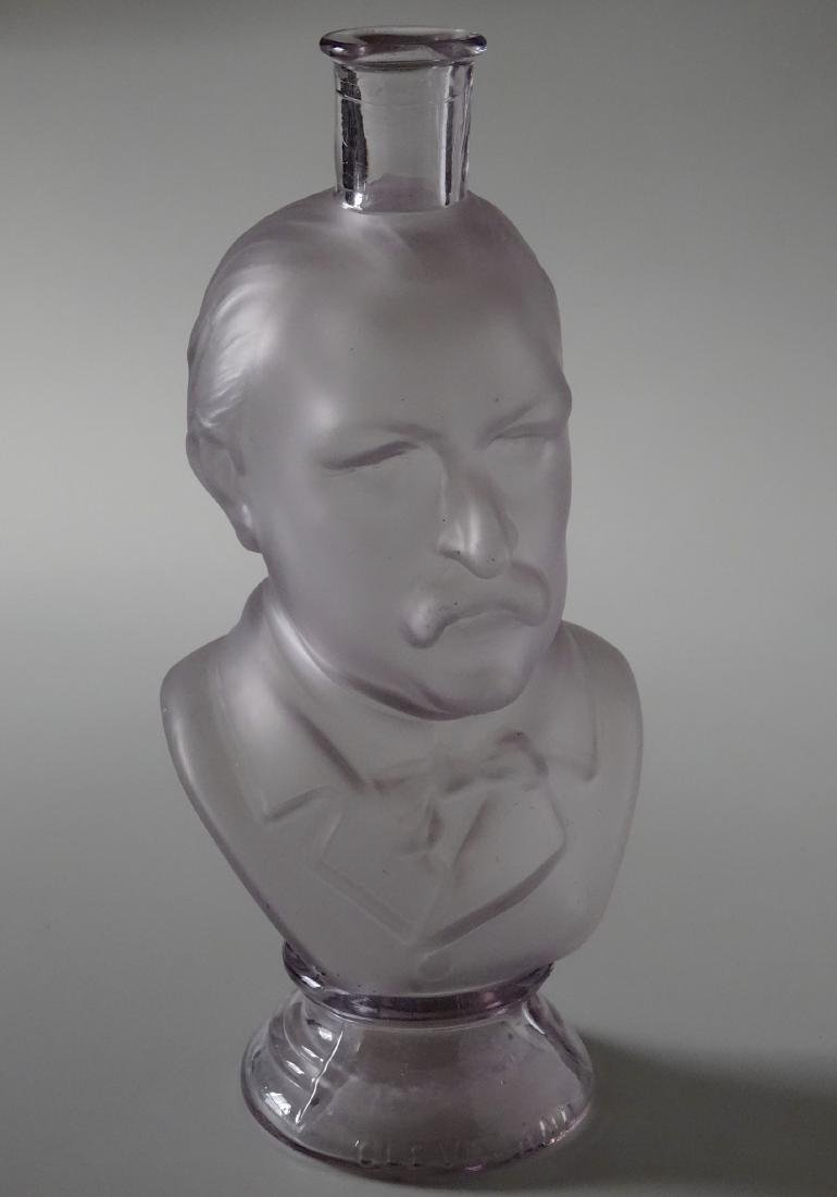 President Grover Cleveland Frosted Glass Figural Bust - 3