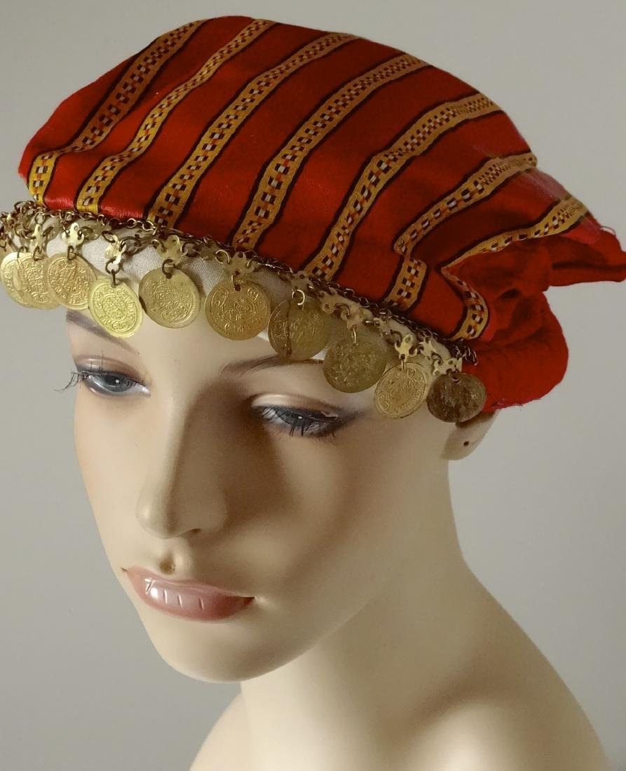 Vintage Ethnic Dance Hair Dress Red Cap with Coins