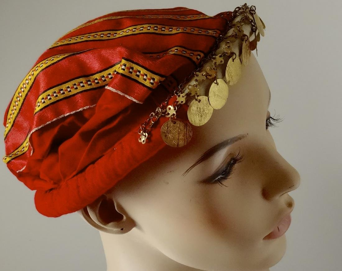 Vintage Ethnic Dance Hair Dress Red Cap with Coins - 2