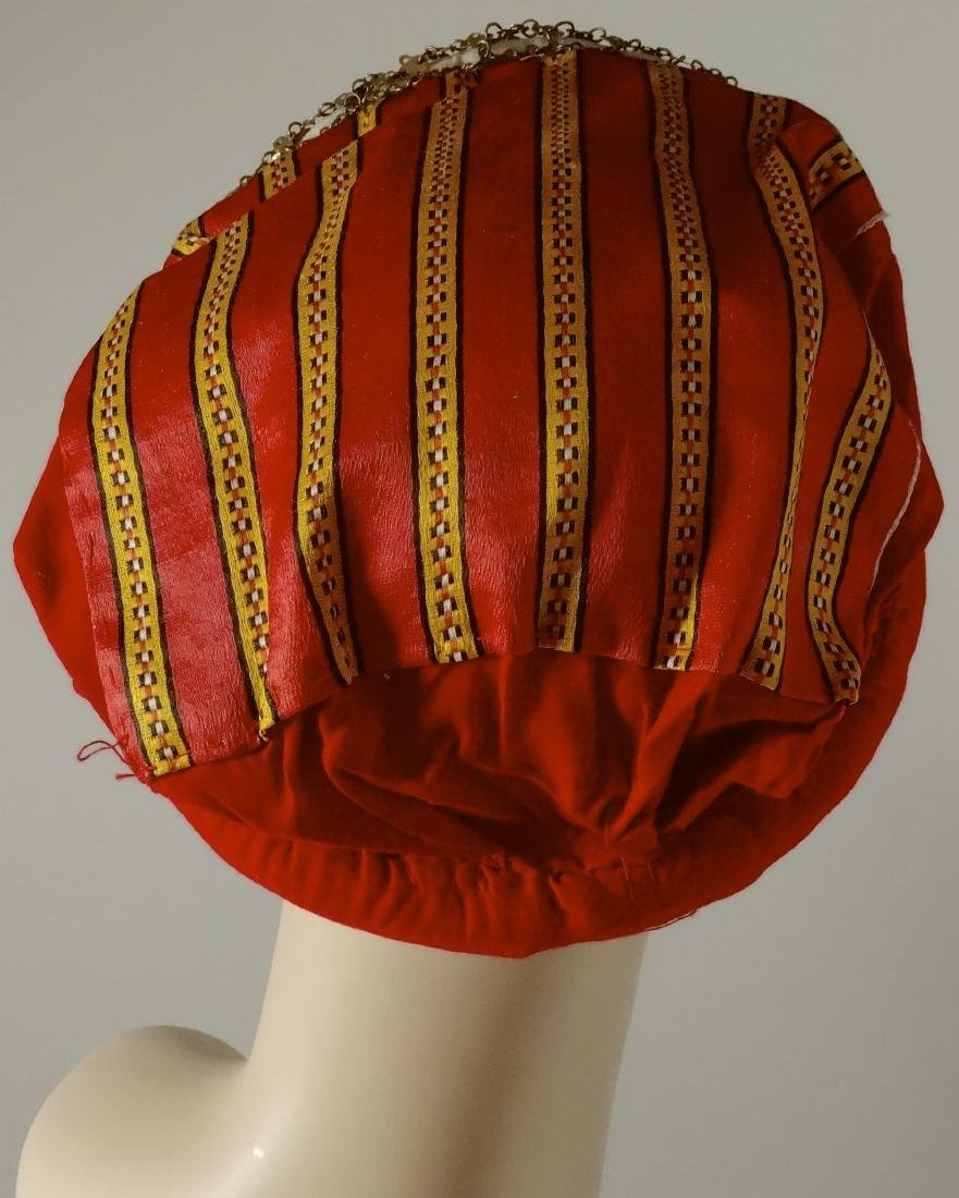 Vintage Ethnic Dance Hair Dress Red Cap with Coins - 3