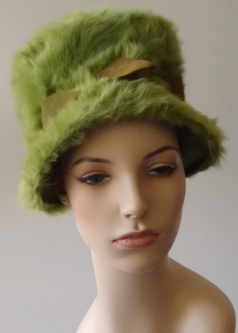 Vintage MARION VALLE Angora Hat Avocado Green 50/60s Fa