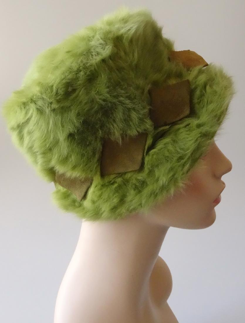 Vintage MARION VALLE Angora Hat Avocado Green 50/60s Fa - 2