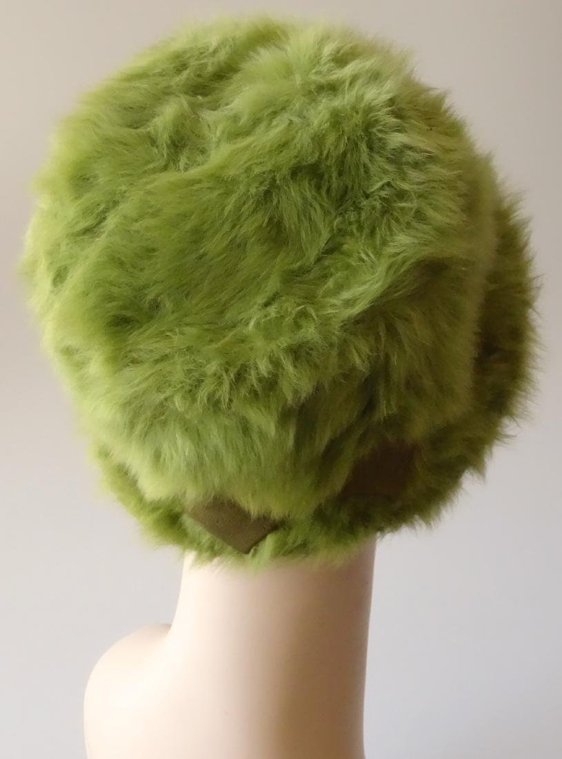 Vintage MARION VALLE Angora Hat Avocado Green 50/60s Fa - 3