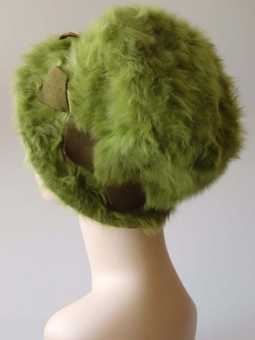 Vintage MARION VALLE Angora Hat Avocado Green 50/60s Fa - 4