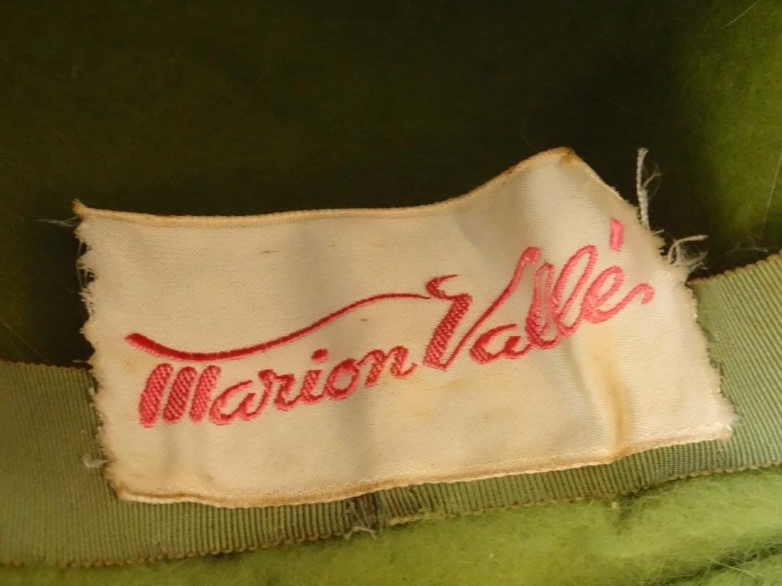 Vintage MARION VALLE Angora Hat Avocado Green 50/60s Fa - 6