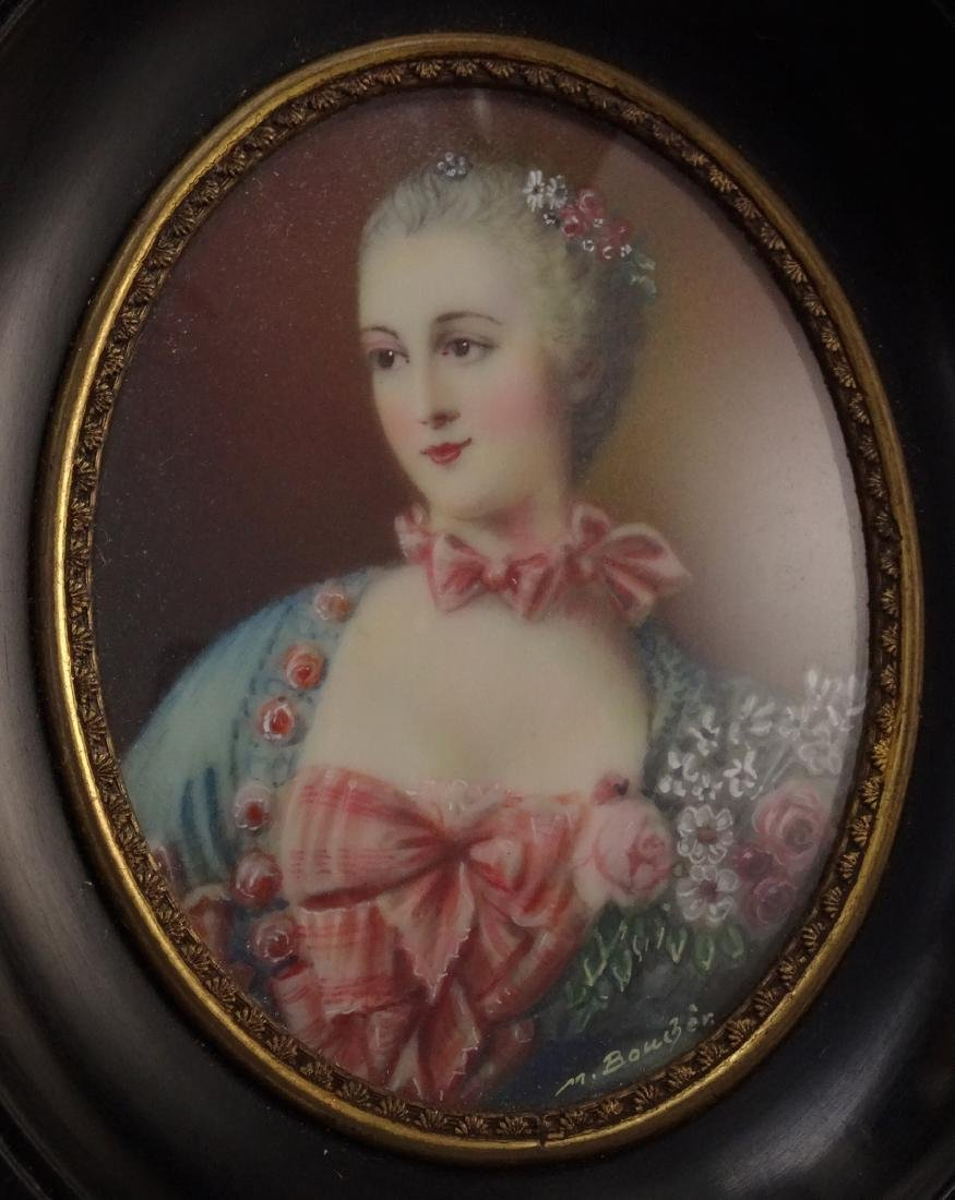 Madame Pompadour Antique Hand Painted Framed Miniature - 4