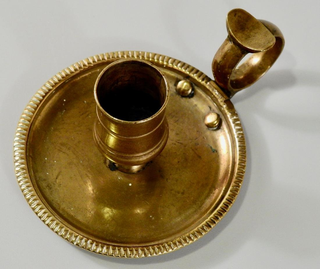 Antique English Brass Candle Holder Chamberstick Mid - 4