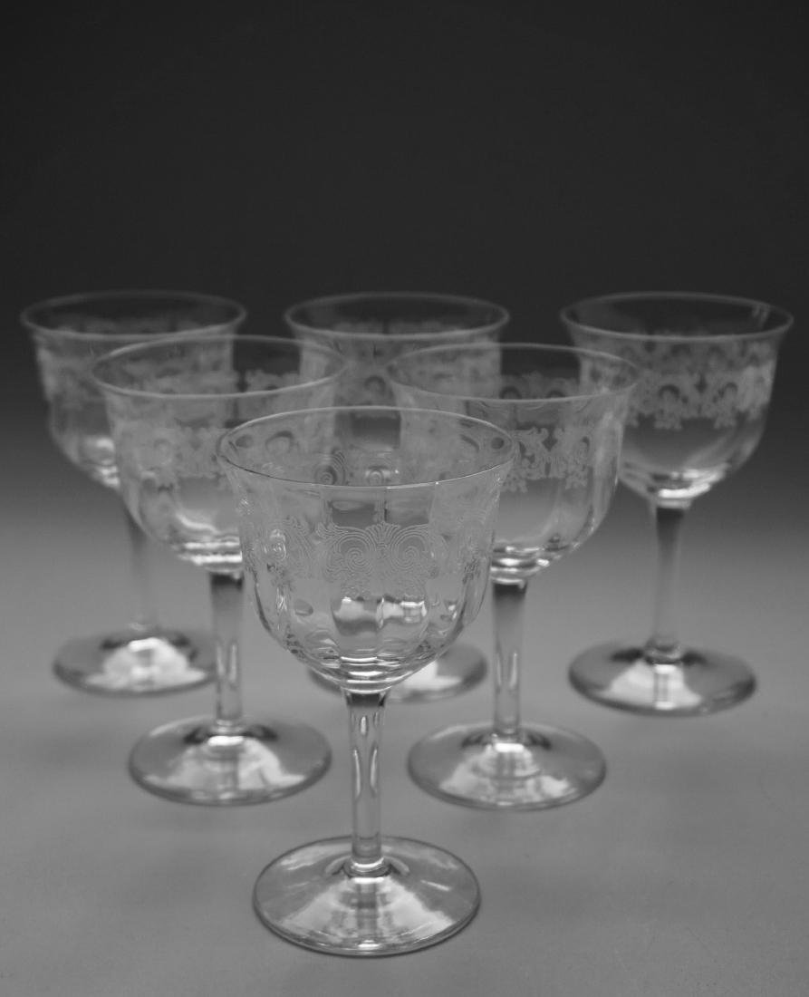 Needle Etched Vintage Clear Glass Sherry Wine Cocktail