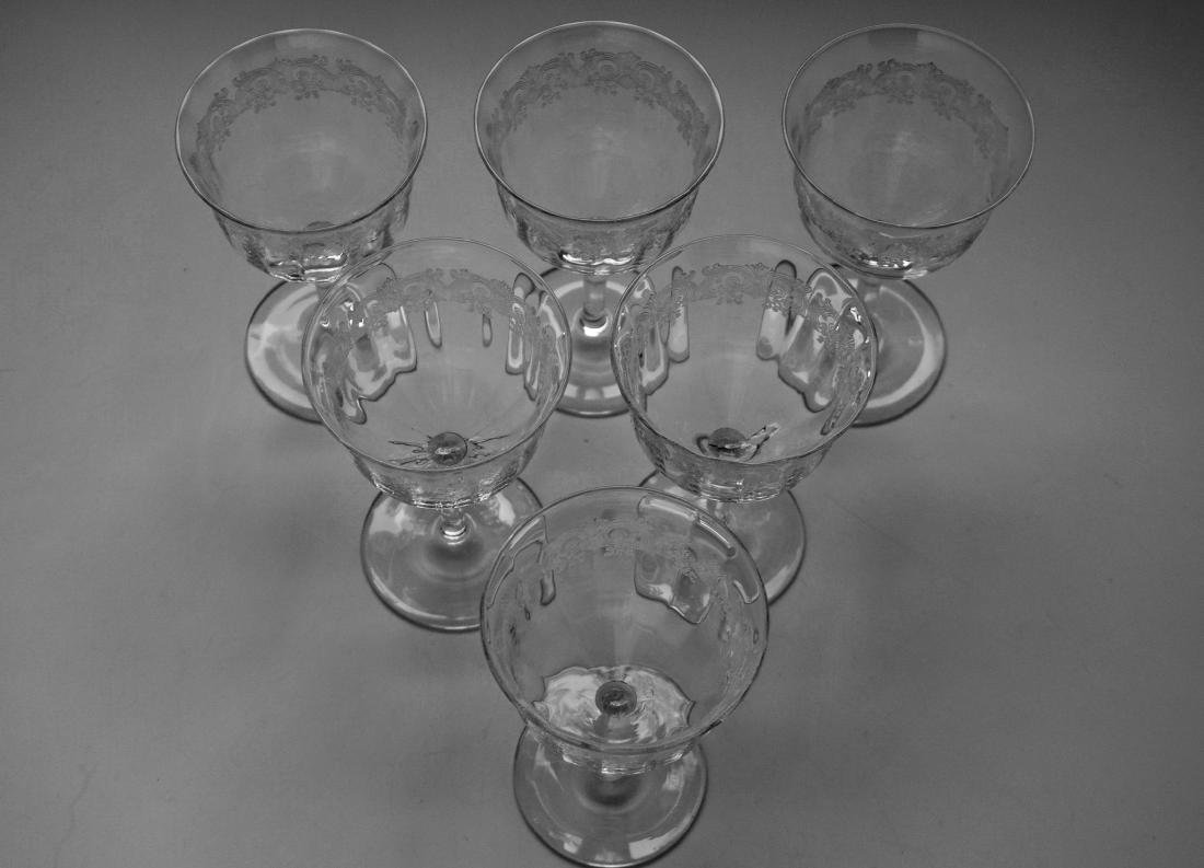 Needle Etched Vintage Clear Glass Sherry Wine Cocktail - 2