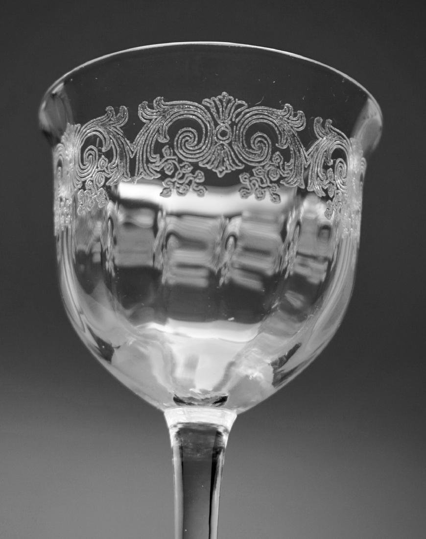Needle Etched Vintage Clear Glass Sherry Wine Cocktail - 3