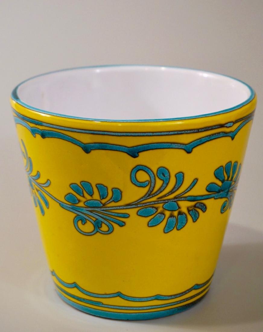Turquoise Yellow Cachepot Italian Ceramic Planting Pot