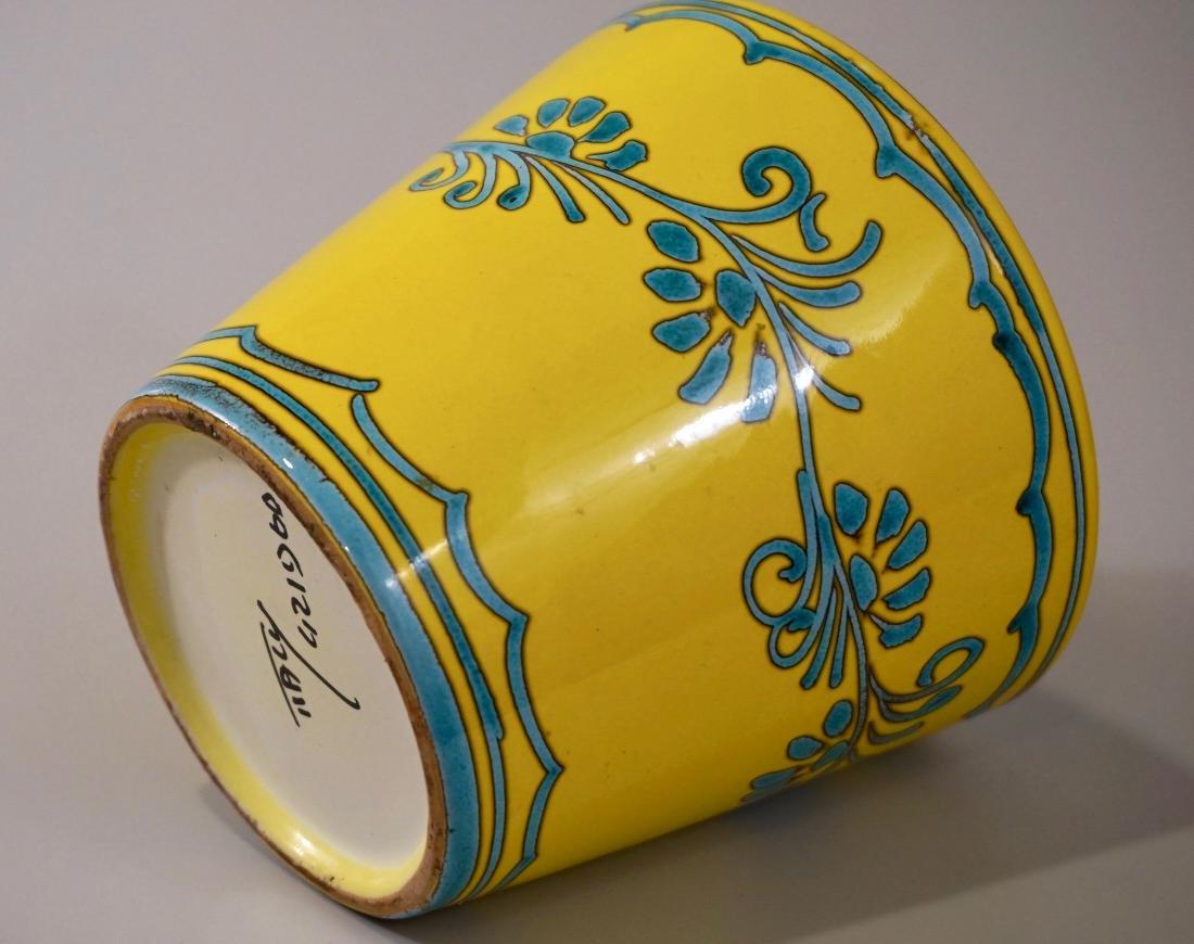 Turquoise Yellow Cachepot Italian Ceramic Planting Pot - 2
