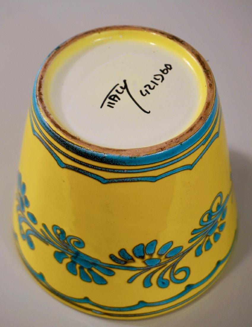 Turquoise Yellow Cachepot Italian Ceramic Planting Pot - 3