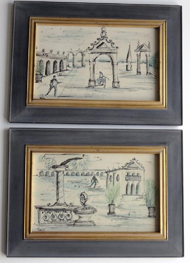 Mid Century Pair Italian Decorator Framed Prints