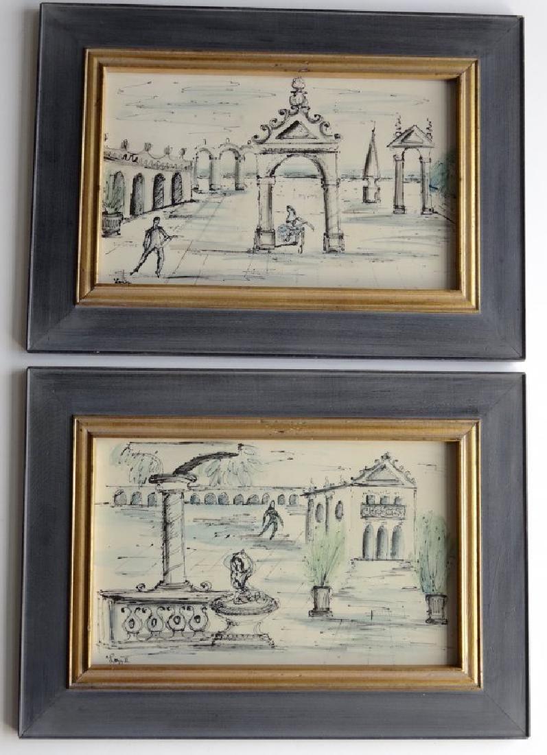 Mid Century Pair Italian Decorator Framed Prints