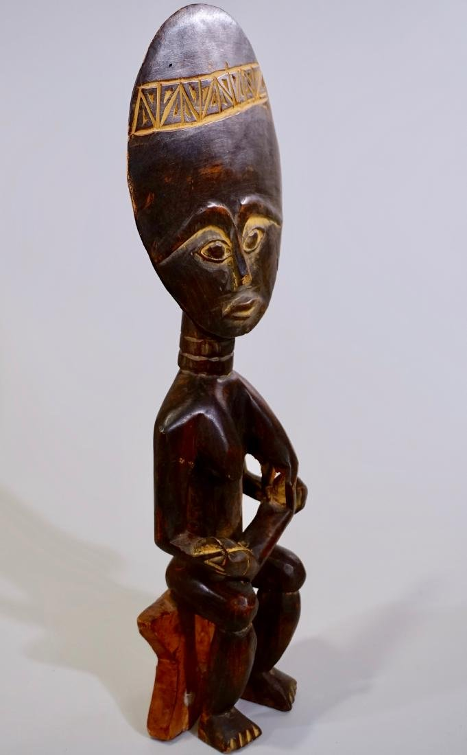 African Madonna Ghana Tribal Carved Wood Akuaba Doll - 7