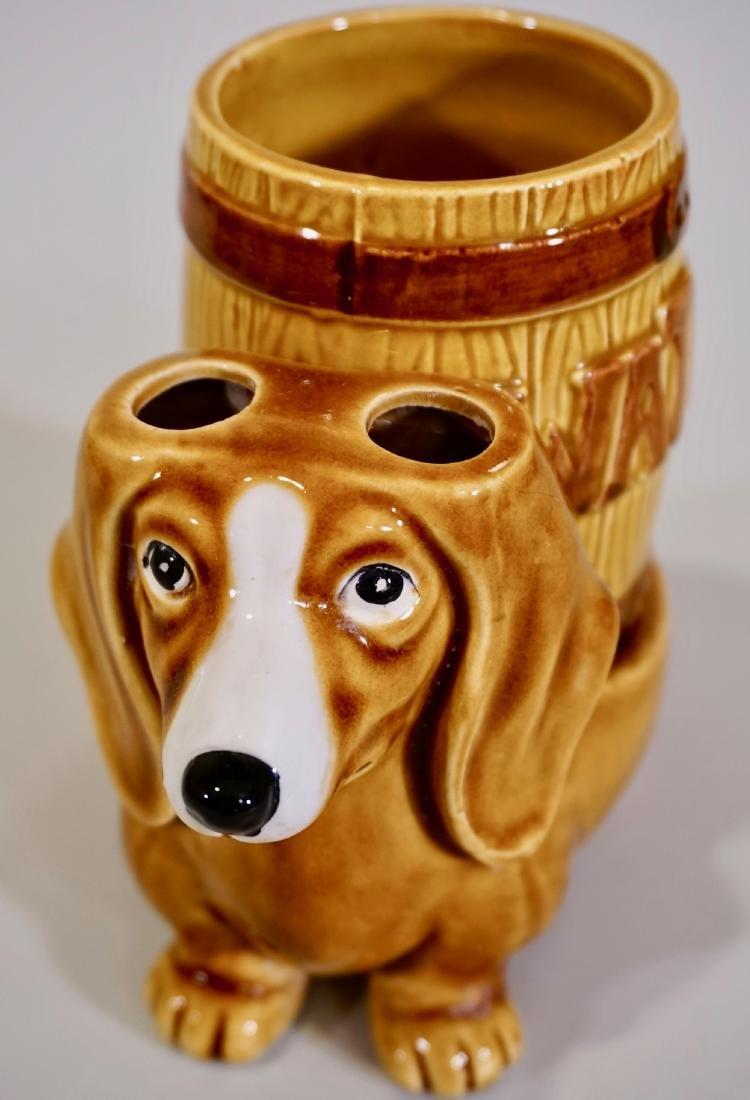 Vintage Dachshund Figurine Vanity Dog Water Glass Stand