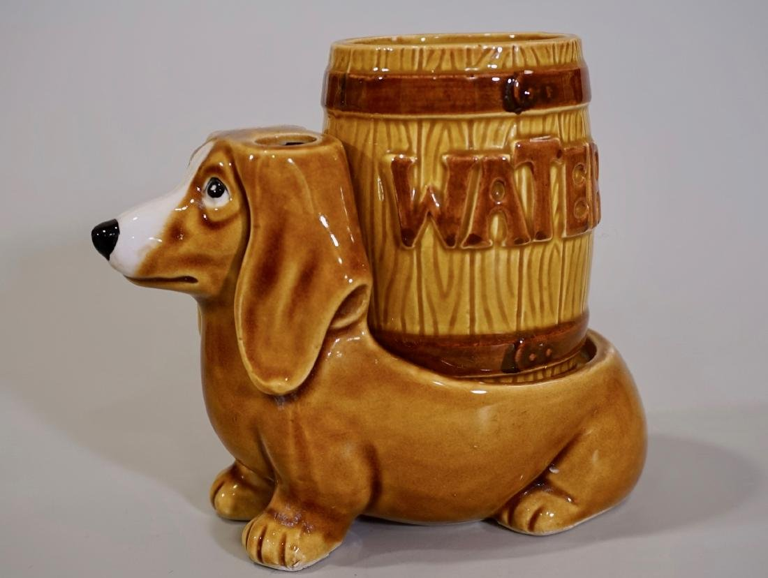 Vintage Dachshund Figurine Vanity Dog Water Glass Stand - 2