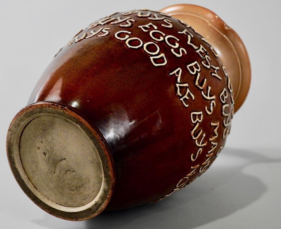 Doulton Lambeth Stoneware Pottery Motto Ale Jug c Late - 6