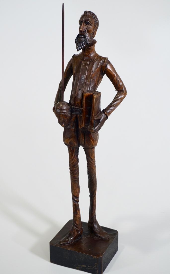 Don Quixote Carved Wood Vintage Sculpture Mid Century - 2