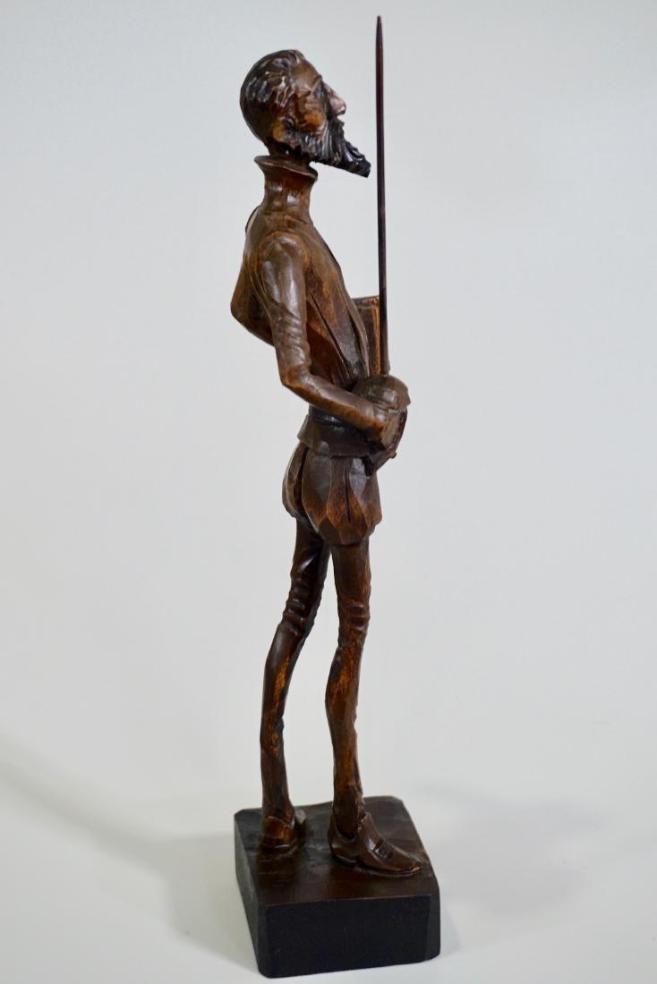 Don Quixote Carved Wood Vintage Sculpture Mid Century - 3