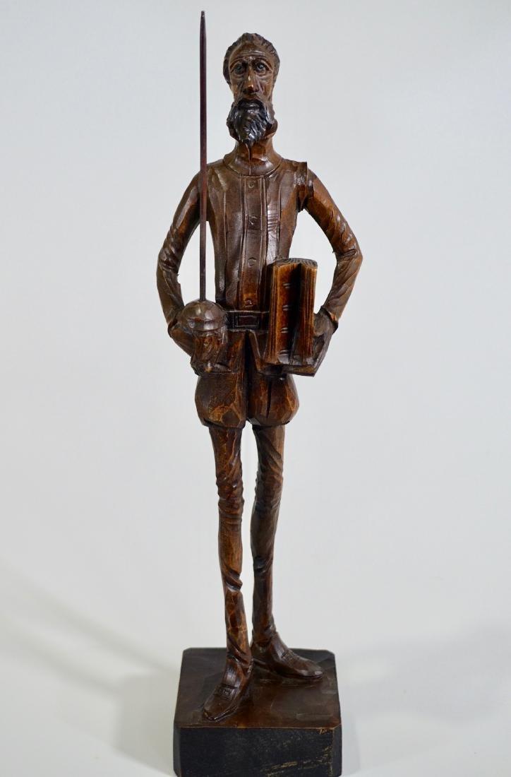 Don Quixote Carved Wood Vintage Sculpture Mid Century - 5