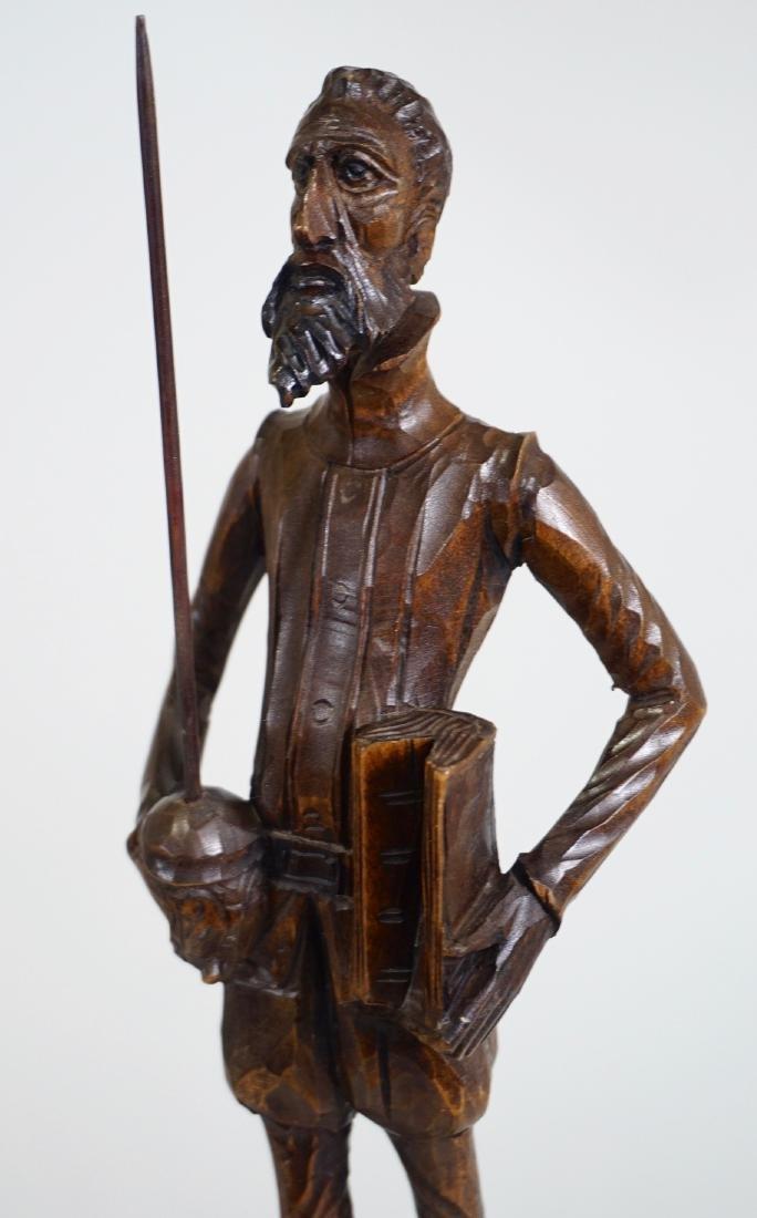 Don Quixote Carved Wood Vintage Sculpture Mid Century - 6