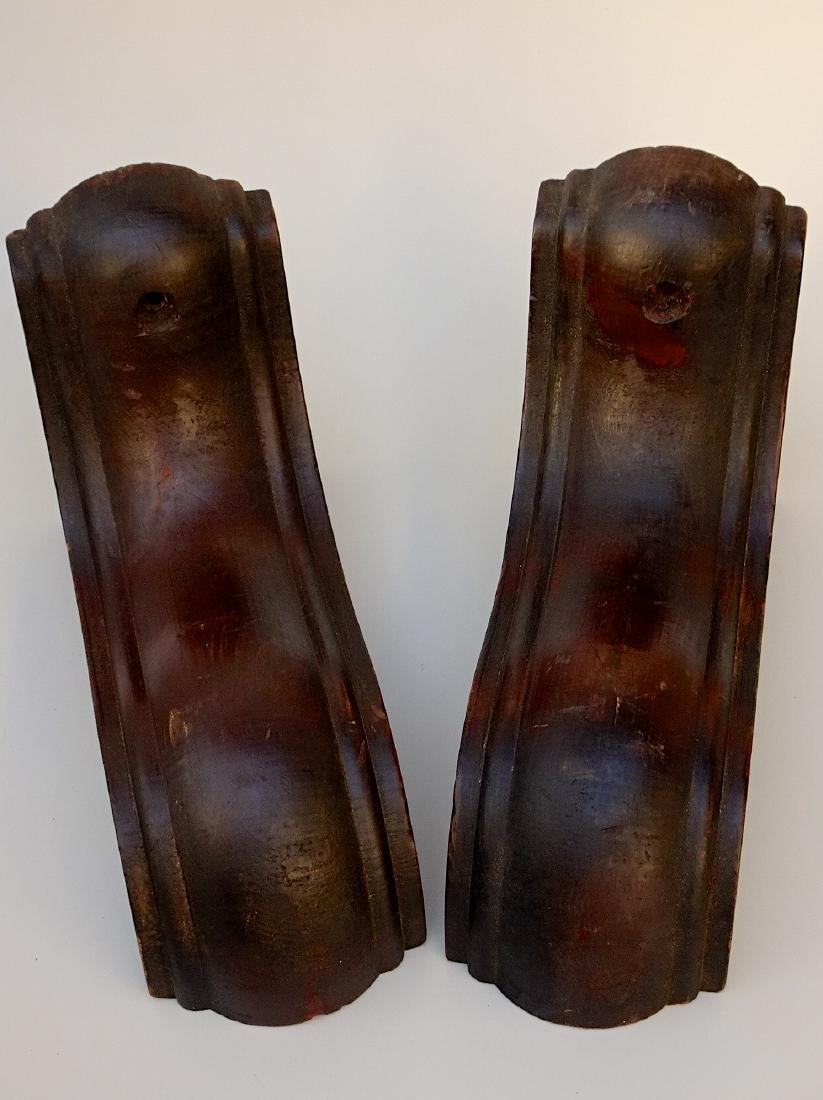 Vintage Carved Wood Shelf Brackets Pair Shelves - 3