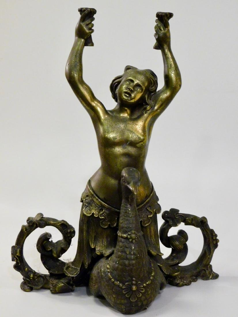 Antique Cast Brass Mermaid Riding Swan Sculpture