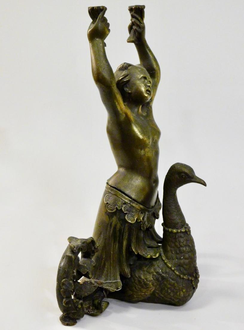 Antique Cast Brass Mermaid Riding Swan Sculpture - 2