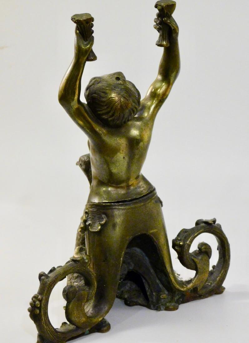 Antique Cast Brass Mermaid Riding Swan Sculpture - 3