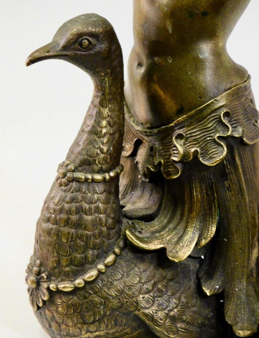 Antique Cast Brass Mermaid Riding Swan Sculpture - 5
