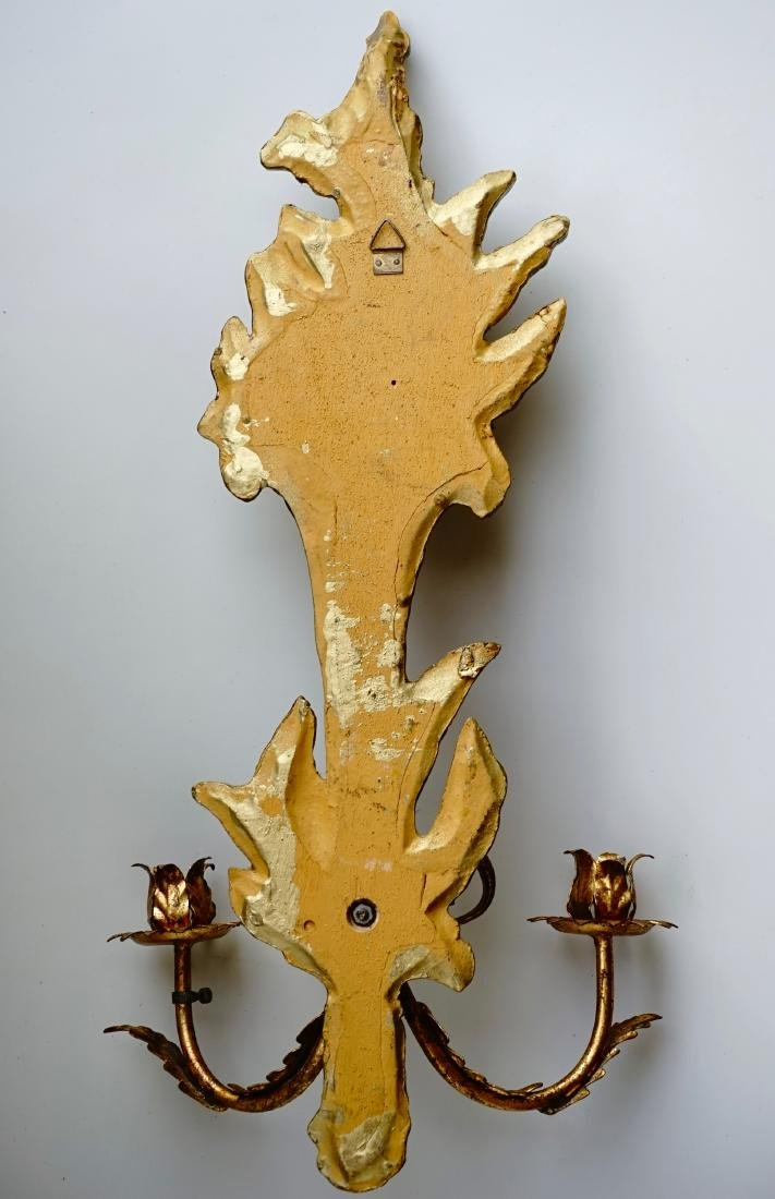 Italian Carved Gilded Wood Sconce Two Candle Tole - 10