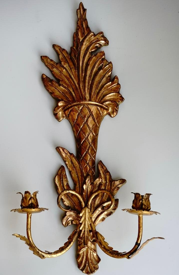 Italian Carved Gilded Wood Sconce Two Candle Tole - 2