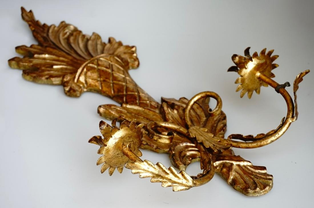 Italian Carved Gilded Wood Sconce Two Candle Tole - 4