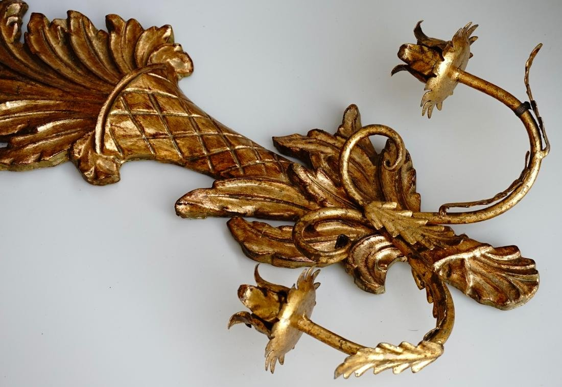 Italian Carved Gilded Wood Sconce Two Candle Tole - 5