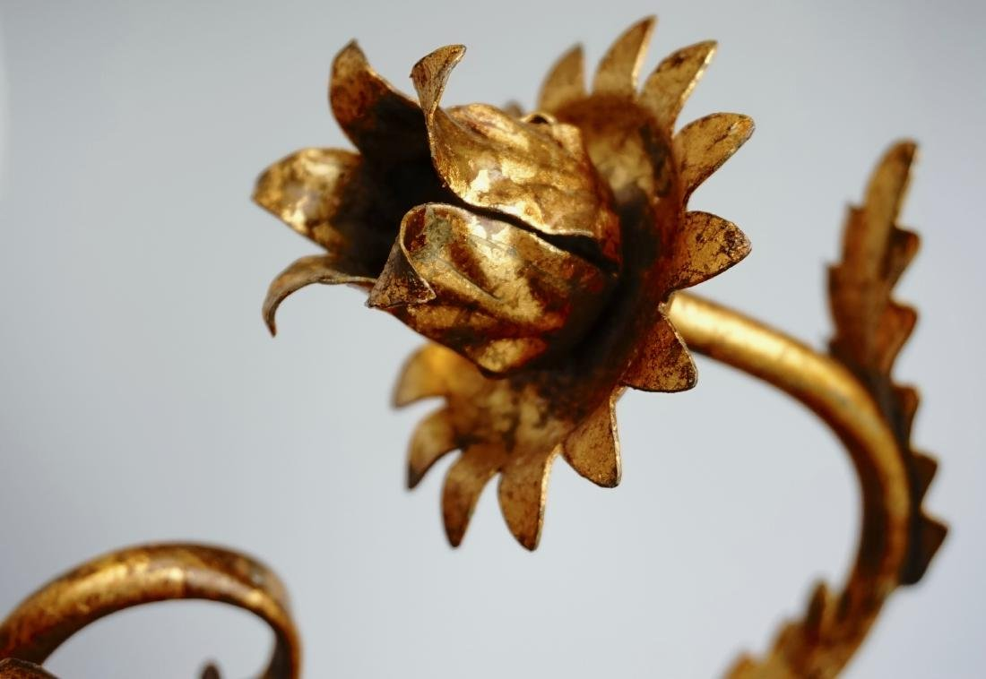 Italian Carved Gilded Wood Sconce Two Candle Tole - 8
