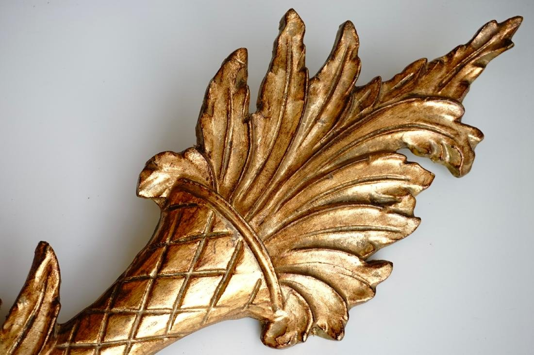Italian Carved Gilded Wood Sconce Two Candle Tole - 9