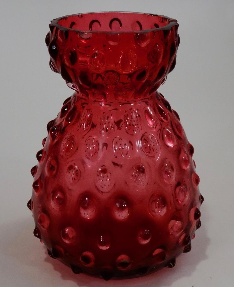 Hobnail Cranberry Glass Sack Shaped Vase Pontil Blown - 2