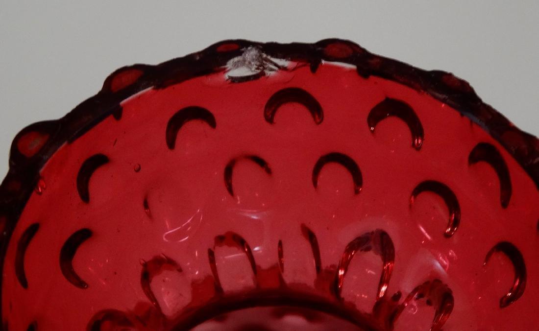 Hobnail Cranberry Glass Sack Shaped Vase Pontil Blown - 6