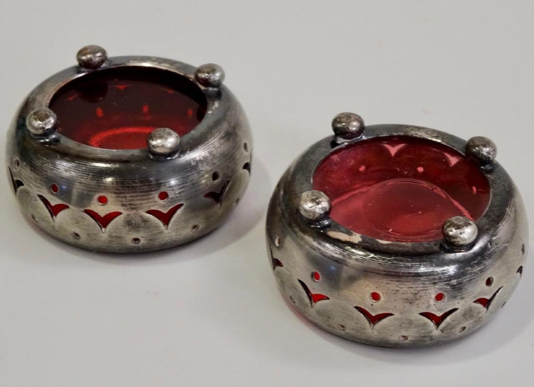 Open Salt Cellar Cranberry Glass Insert Hallmarked - 2