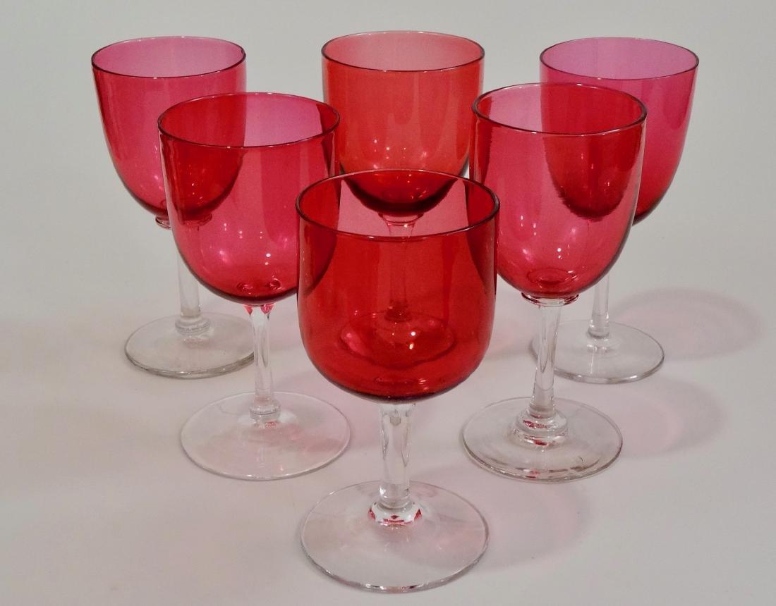 Antique Victorian Cranberry Wine Glasses Assembled - 2