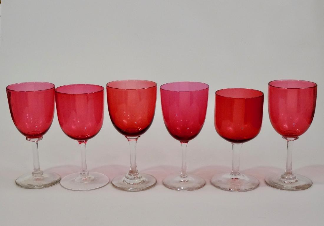Antique Victorian Cranberry Wine Glasses Assembled - 3