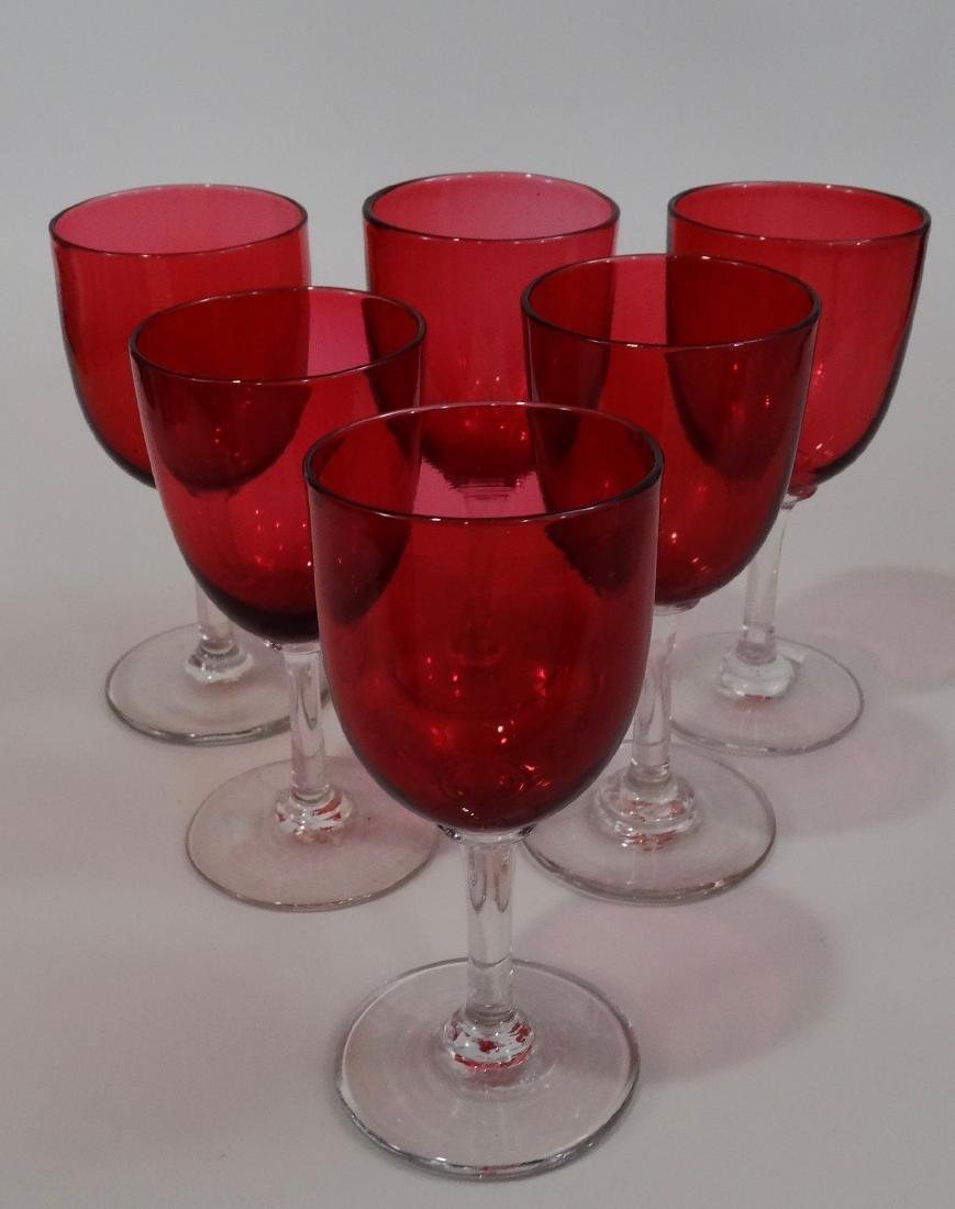 Victorian Cranberry Glass Stemware Wines Small Wine