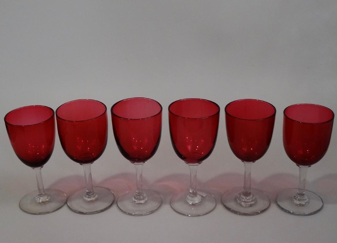 Victorian Cranberry Glass Stemware Wines Small Wine - 3
