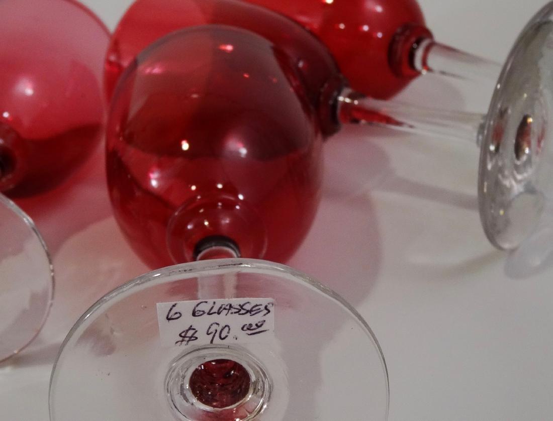 Victorian Cranberry Glass Stemware Wines Small Wine - 6