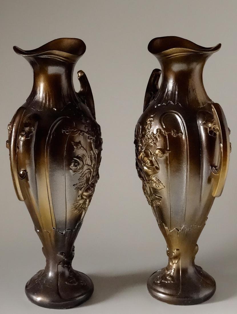 Art Nouveau French Mantel Vases Antique Bronzed Spelter - 2